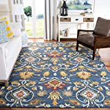 Safavieh Blossom Collection BLM402A Handmade Navy and Multi Premium Wool Area Rug (8' x 10')