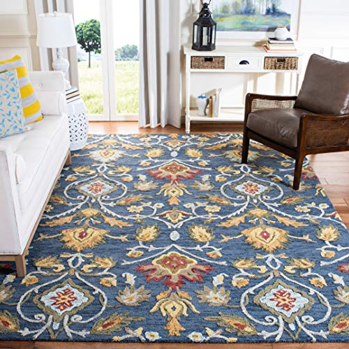 Safavieh Blossom Collection BLM402A Handmade Navy and Multi Premium Wool Area Rug 6 x 9