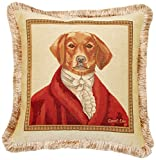 Corona Decor French Woven Jacquard Feather and Down Filled Sir Dog Buckingham Decorative Pillow