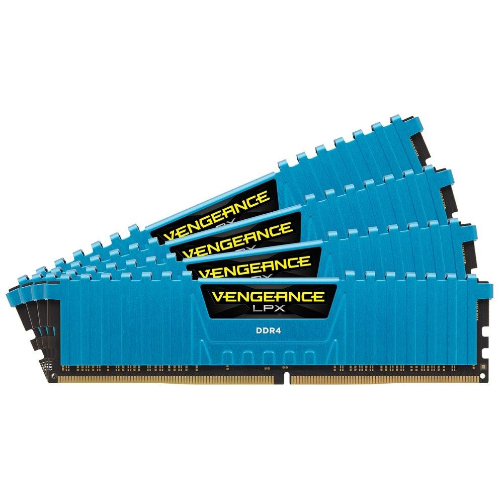 Corsair Vengeance LPX - Módulo de memoria XMP 2.0 de alto rendimiento de 16 GB (4 x 4 GB, DDR4, 2666 MHz, C16), azul (CMK16GX4M4A2666C16B)