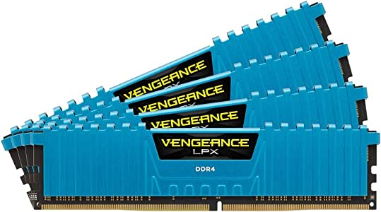 Corsair Vengeance LPX 16GB (4x4GB) DDR4 DRAM 2400MHz (PC4-19200) C14 Memory Kit - Blue (CMK16GX4M4A2400C14B)