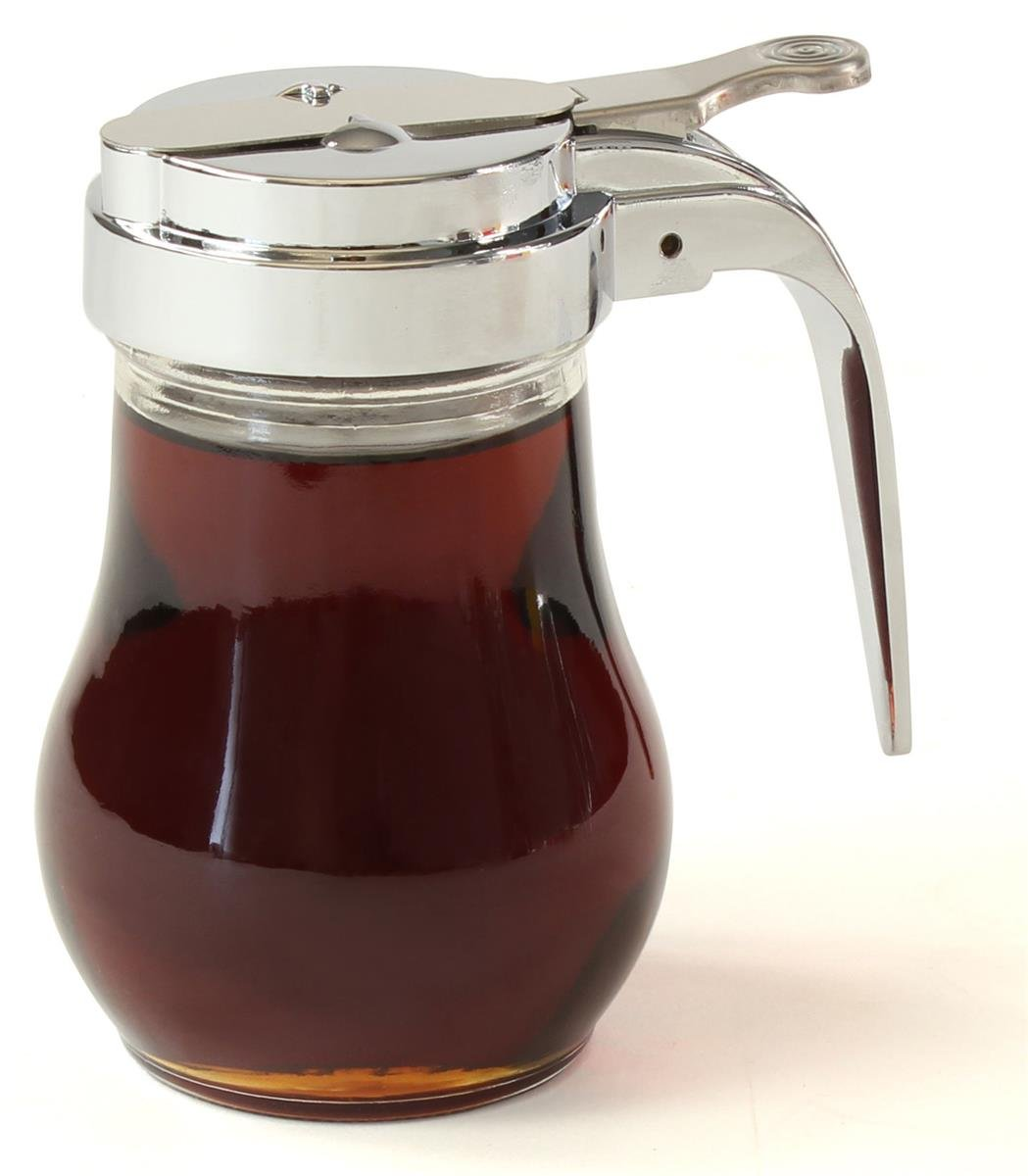 Set of 12, Classic Diner Style 6-Ounce Syrup Dispenser, 2-3/4 x 4 x 4-Inch, Sliding Spout, Steel Top, Glass Jug, Hook Design