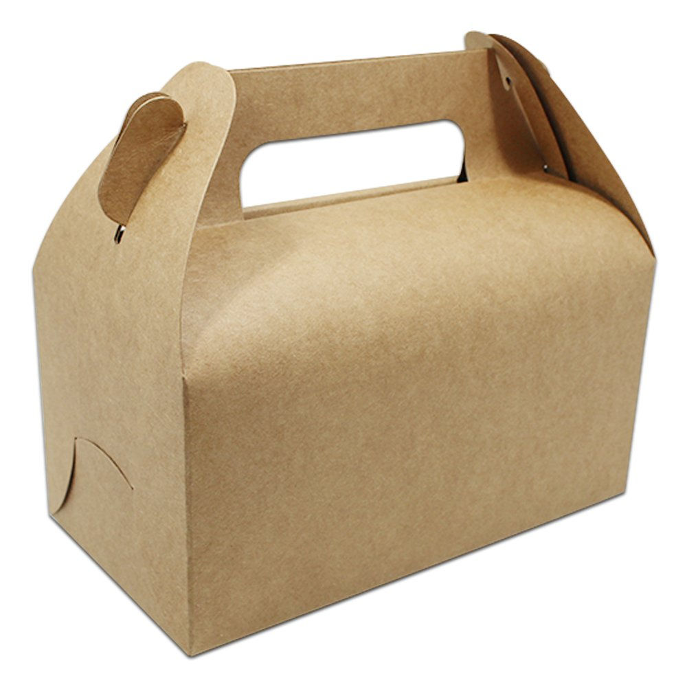 Brwon Color Many Sizes Kraft Paper Cake Gift Packaging Box with Handle Brown Paper Packing Box for Gift Package Cake Packaging Box (120, 16.5x8.5x8cm (6.5''x3.3''x3.1''))