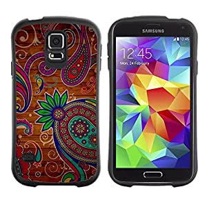 Paccase / Suave TPU GEL Caso Carcasa de Protección Funda para - Henna Tattoo Colorful Colors Flowers - Samsung Galaxy S5 SM-G900
