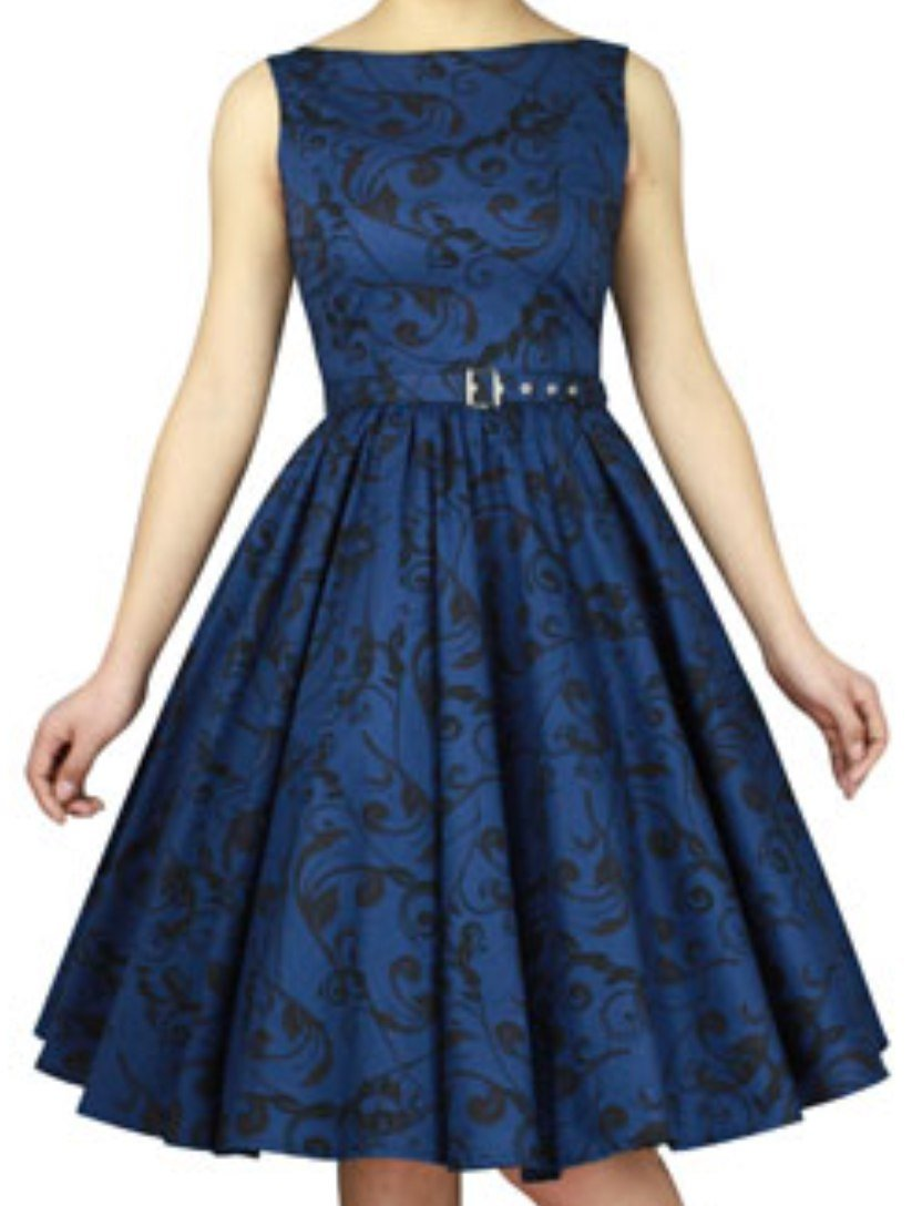 CS -Date Night- Vintage Style 30s 40s Retro Pin up Swing Blue Black Formal Dress (XL)