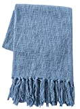 SLPR 100% Cotton Throw Blanket with Fringes (50'' x 60'', Aqua) | Soft Washable Woven Throw for Sofa Chair Picnic Camping Beach Everyday Use