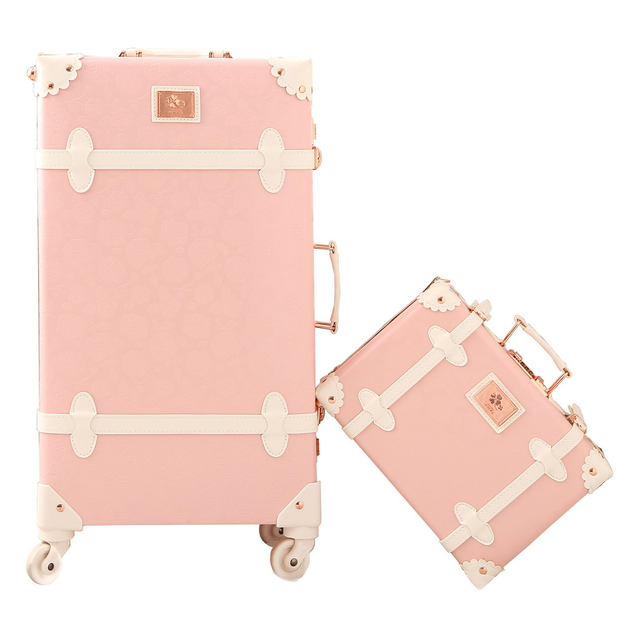 d5ce192ad5ec Travel Vintage Luggage Sets Cute Trolley Suitcases Set Lightweight Trunk  Retro Style for Women Princess Pink 26