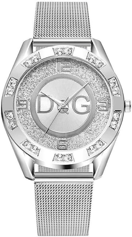 Sra Reloj Simple Seora Cristal Plata Acero Inoxidable Reloj De Cuarzo Sra Reloj Deportivo Al Aire Libre Reloj Fecha Exac,