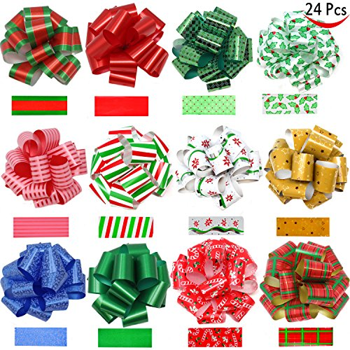 24 Pieces Christmas Gift Wrap Ribbon Pull Bows (5