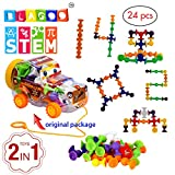 Educational Building Blocks by Blagoo for Kids Toddlers Babies from 3 years old Suction Silicone 7 Colors 24 pcs DIY Car Toy Set