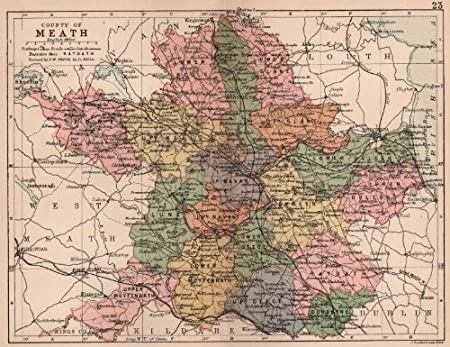 Map Of Co Meath Ireland.County Meath Antique County Map Leinster Ireland Bartholomew
