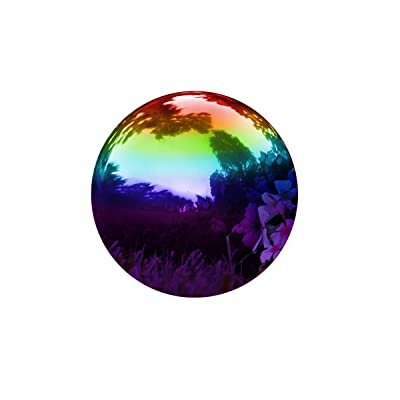 "Trademark Innovations Gazing Mirror Ball - Stainless Steel - 8"" (Rainbow) : Garden & Outdoor"