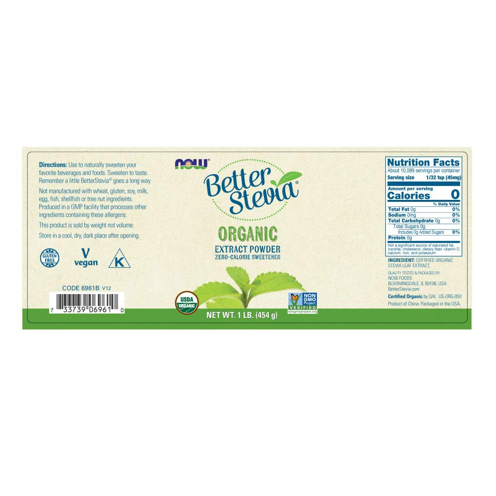 B0017WG1J4 NOW Foods, Certified Organic Better Stevia, Extract Powder, Zero-Calorie Sweetener, Certified Non-GMO, 1-Pound 51FwUoj2Bb5L