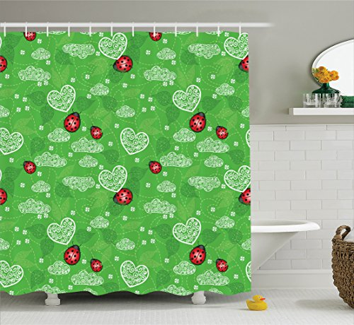 Ladybug Shower Curtains In Standard Size Or Extra Long Styles