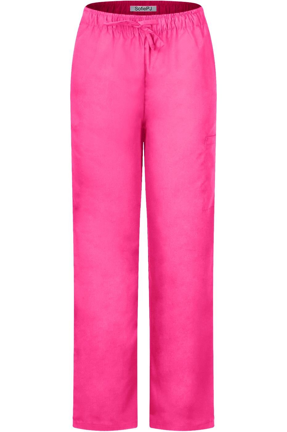 MedPro Women's Medical Scrub Set with Printed Top and Cargo Pants Yellow Pink 2XL(9003-1188GR) by MedPro (Image #4)
