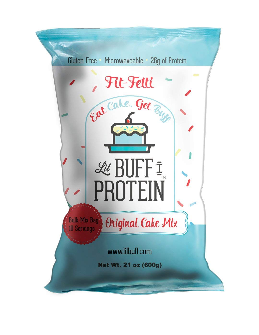 Lil Buff Protein | High Protein Cake Mix | Gluten Free, Microwaveable & 26g of Protein (FIT-FETTI, Bulk Mix 10 Servings)