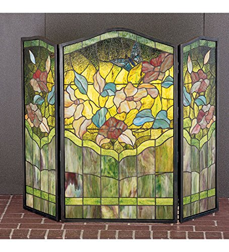Screen Fireplace Stained Butterfly Glass - Butterfly Tiffany Style Stained Glass Fireplace Screen