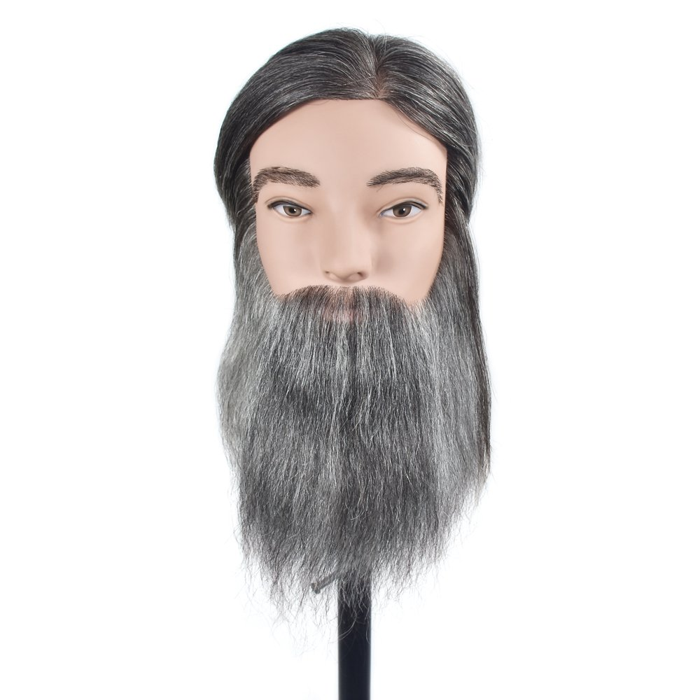 100% Human Hair Man Training Head Hair Mannequin Head Hairdressing Dummy Practice Training Mannequin Doll Head for Cutting with Free Clamp MMZ