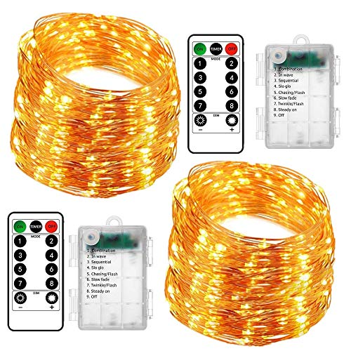 2 Pack Fairy Lights Battery Christmas String Lights, Upgraded Waterproof 8 Modes 16ft 50 LED Copper Wire Lights with Remote Timer Twinkle Starry String Lights for Bedroom Christmas Party Decor
