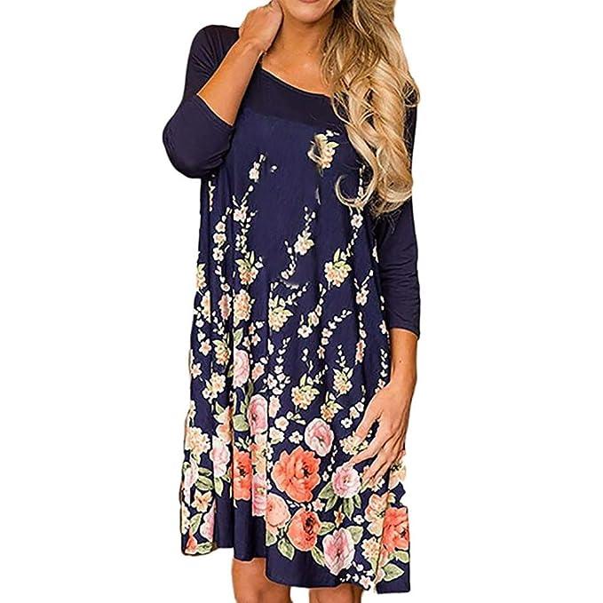636d3b7a0b62 Goosuny Damen Blumen Print Langarm Sommerkleid Mode Casual Locker O ...