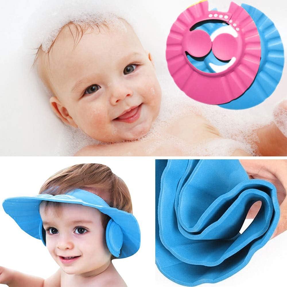 Chapeau Douche B/éb/é ajustable baby bath cap kids Shampooing Cap Chapeau de protection pour b/éb/és et enfants Bleu//Rose Bllomsem 2PCS bonnets chapeau de bain b/éb/é
