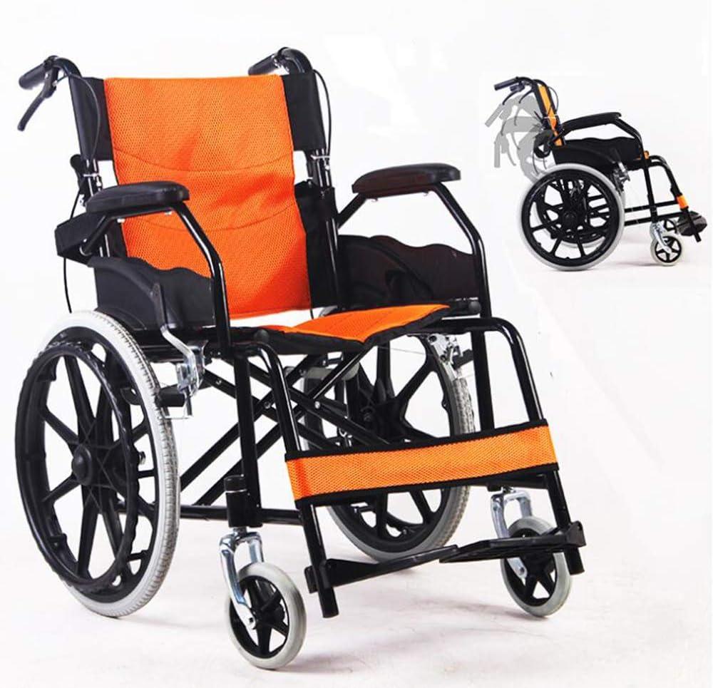 SHOWGG Plegable Silla de Ruedas Silla portátil de Transporte ergonómica Adaptada para minusválidos de Edad Avanzada con Silla de Ruedas Plegable transportable Walker Fácil de Asistencia,Naranja
