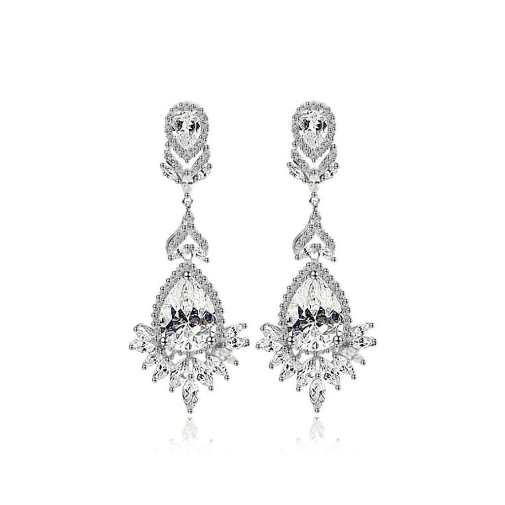 Gold Plated Earring Women Girl Emerald Stud Earrings Wedding Valentines Gift