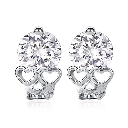 925 Sterling Silver Polished Diamond Heart Screwback Earrings 12mm x 11mm
