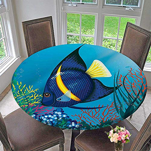 Mikihome Modern Table Cloth Tropical Fish Swimming Underwater Bubble Coral Reef Deep Sea Aquarium Image Blue Yellow Indoor or Outdoor Parties 31.5