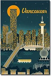 "Vancouver, Canada Retro Skyline Travel Art Refrigerator Magnet Size 2.5"" x 3.7"""