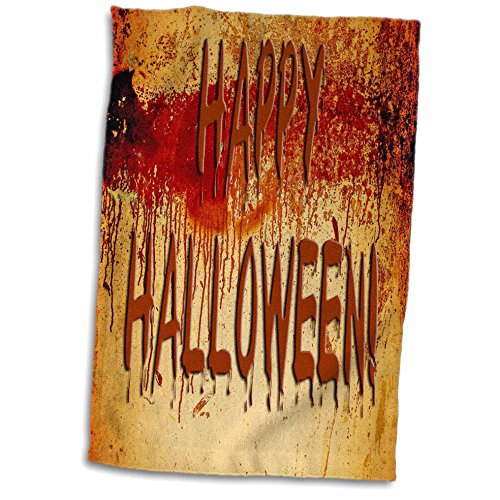 3dRose Sandy Mertens Halloween Words - Bloody Happy Halloween on Blood Stained Wall - 12x18 Hand Towel (twl_53766_1) -