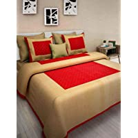 UNIBLISS 100% Cotton 144 TC Double Bedsheet (213cm x 235 cm) with 2 Pillow Covers (43cm x 69 cm) - Queen, Yellow