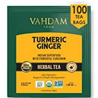 VAHDAM, Organic Turmeric + Ginger POWERFUL SUPERFOOD Herbal Tea, 100 Count   USDA Certified Herbal Tea   POWERFUL Wellness & Healing Properties of TURMERIC TEA with GINGER   Immune Support   Detox Tea