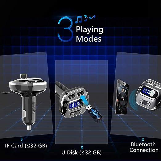 Dibiao Pantalla LED Bluetooth 4.0 Coche Transmisor FM Manos libres Cargador de coche Reproductor de MP3 Equipo de auto compatible con tarjeta TF//U-disc