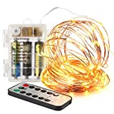 Innotree Outdoor Fairy Lights Battery Operated with Timer Remote Dimmable, IP67 Waterproof 33Ft 100 LEDs White Starry String Lights Bedroom Indoor Decorative