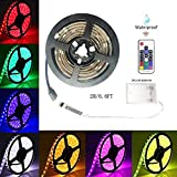 Battery-Powered Led Strip Lights, 60 LEDs 5V Waterproof Flexible Color Changing RGB 5050 LED Light Strip,17-Keys Remote Controlled with DIY Indoor and Outdoor Decoration