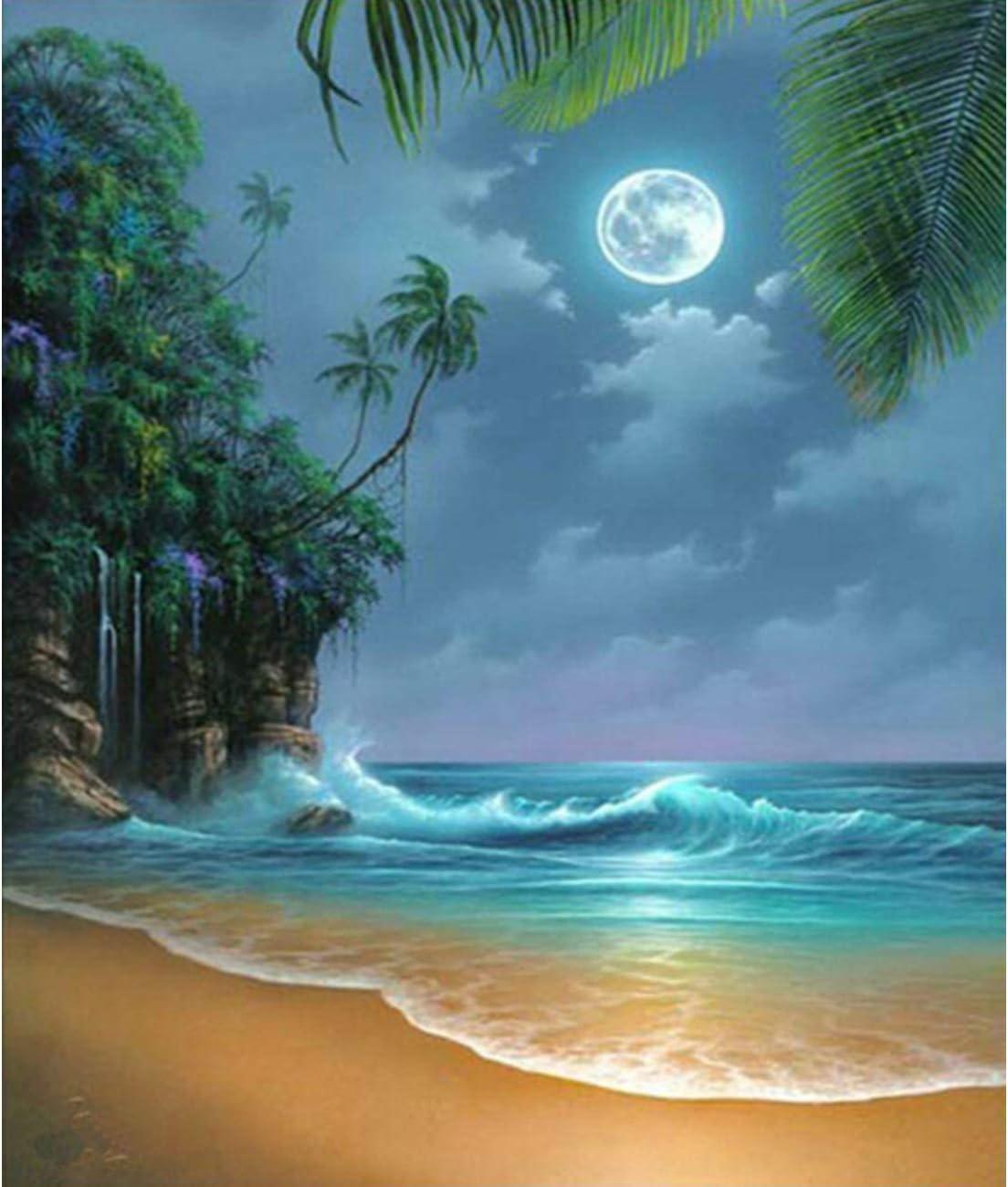 Amazon Com Diy 5d Diamond Painting Kit Full Diamond Seaside Moon Beach Embroidery Rhinestone Cross Stitch Arts Craft Supply For Home Wall Decor