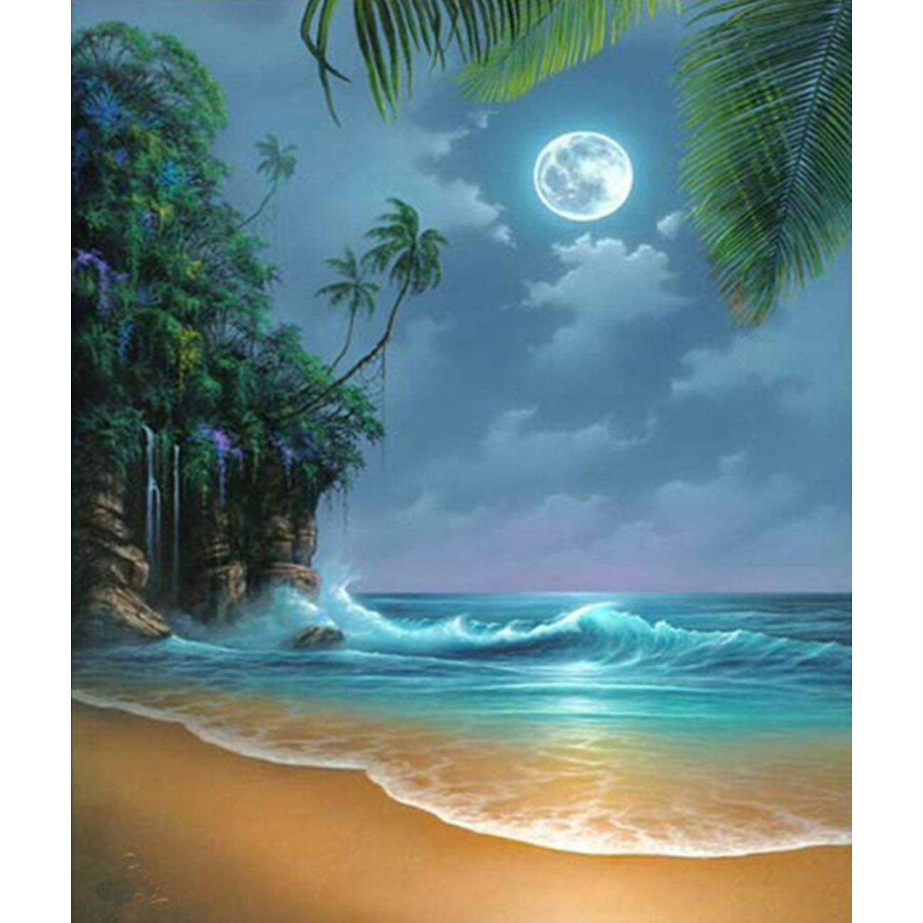 DIY 5D Diamond Painting Kit, Full Diamond Seaside Moon Beach Embroidery Rhinestone Cross Stitch Arts Craft Supply for Home Wall Decor