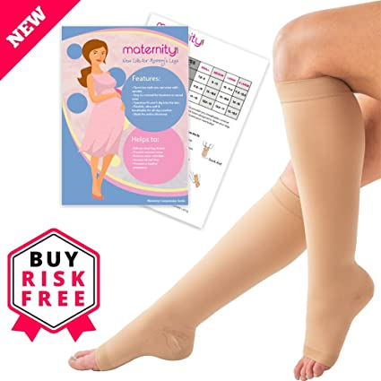 4d4ae2790101f Maternity Compression Socks, 15-21mmHg - Open Toe, Knee High Compression  Stockings - Wear with Anything - Breathable, Anti-Bacterial, Anti-Slip, ...
