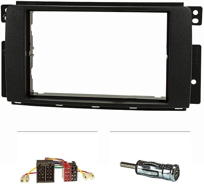 tomzz Audio 2451-000 - Marco de radio doble DIN compatible con Smart Fortwo 451 Forfour 454, color negro, con adaptador de radio ISO, adaptador de ...