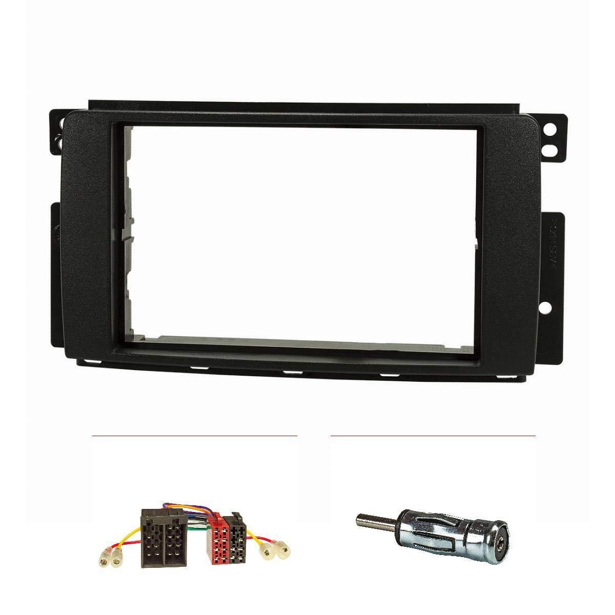 tomzz Audio 2451-000 Doppel DIN Radioblende Set passend f/ür Smart fortwo 451 forfour 454 schwarz mit Radioadapter ISO Antennenadapter ISO DIN