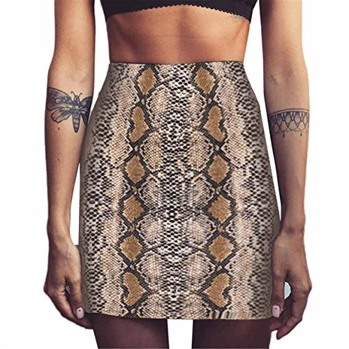 Londony Womens Soft High Waist Fashion Snakeskin Stripes Print Mini Bodycon Skirt (M, (Candy Stripe Skirt)