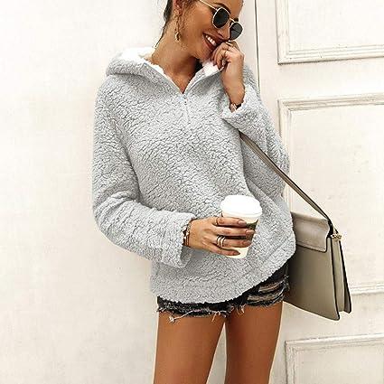 gonikm Women Fashion Solid Long Sleeve Loose Hooded Pullover Plush Sweatshirt Fashion Sweatshirts