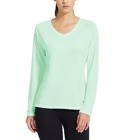 Baleaf Women's V-Neck Long Sleeve Mesh Running Shirts Aqua Size S