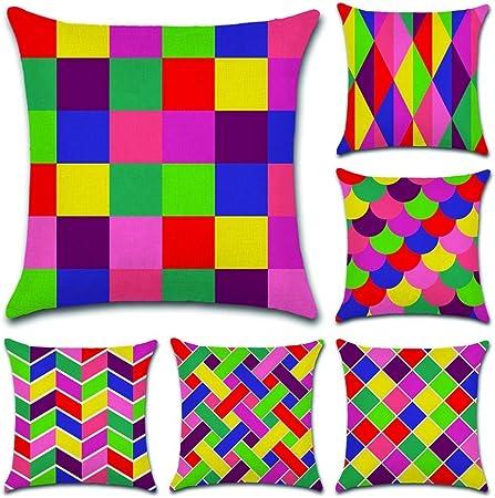 Cuscini Colorati Da Divano.Aipark 6 Pezzi 45 X 45 Cm Geometrici Federe Decorative Di Cuscino