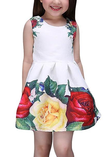 Happy cherry Vestido Falda para Niñas Flores Fiesta sin Mangas Talla ES - 7 años