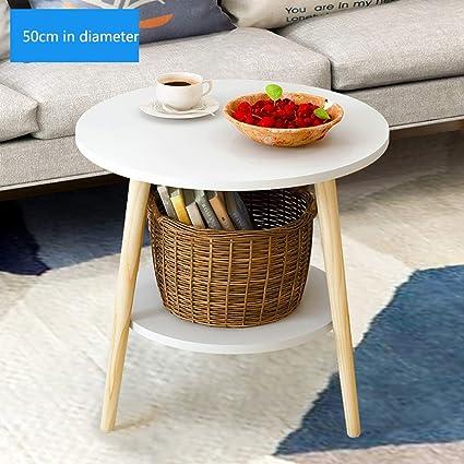 Amazon.com: Mesa auxiliar doble de madera redonda, estante ...