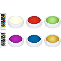 Brilliant Evolution Wireless Color Changing LED Puck Light 6 Pack With 2 Remote Controls | LED Under Cabinet Lighting…