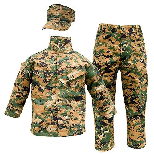 Trendy Apparel Shop Kid's US Soldier Digital Camouflage Uniform 3pc Set Costume Cap, Jacket, Pants - Woodland - XS