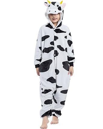 29cadbcd0c8fc Magicmode Unisexe Enfants De Dessin Animé Vaches Une Pièce Grenouillère  Pyjama Costume De Cosplay 110cm